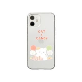 猫とキャンディー Soft clear smartphone cases