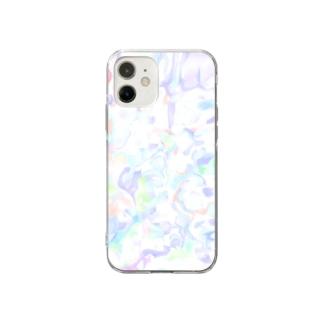白っぽい柄 Soft clear smartphone cases