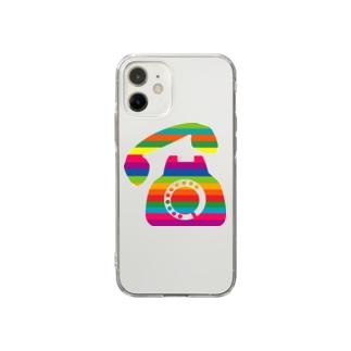カラフル黒電話 Soft clear smartphone cases