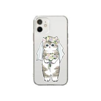 花嫁にゃん Soft clear smartphone cases