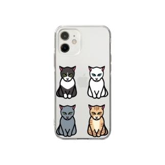 エジプト座りしながら様子を伺う猫 Soft clear smartphone cases
