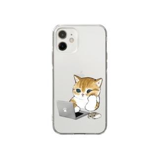 在宅勤務にゃん Soft Clear Smartphone Case