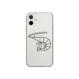 エビ(黒ライン) Soft clear smartphone cases