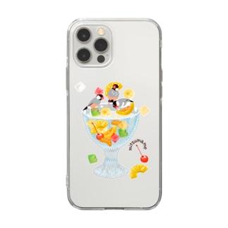 みつ豆桜文鳥 Soft clear smartphone cases