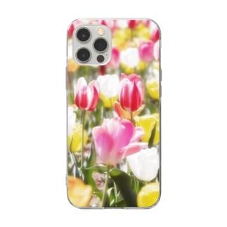 花フォト(チューリップ) Soft clear smartphone cases
