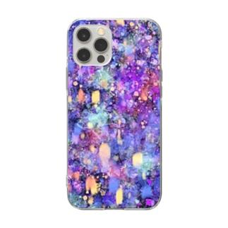 昼寝猫の夢幻夜空 Soft clear smartphone cases