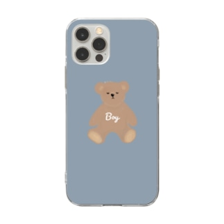 boy クマさん Soft clear smartphone cases