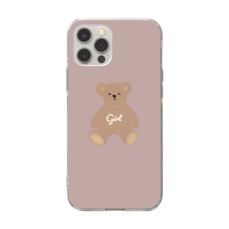 girl くまさん Soft clear smartphone cases