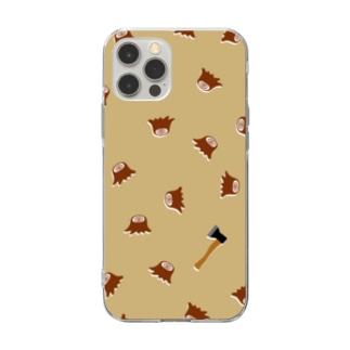 切り株&斧・ケース Soft clear smartphone cases
