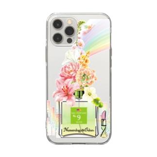 アンドアイデザイン 数秘&カラー🄬オマージュボトルNo9&OLIVE Soft clear smartphone cases
