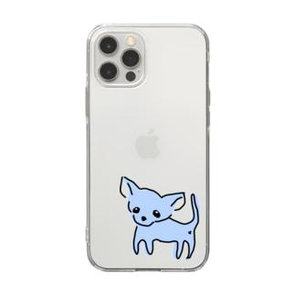 ゆるチワワ(ブルー) Soft clear smartphone cases
