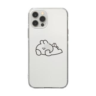 寝そべりうさちゃんハムちゃん Soft clear smartphone cases