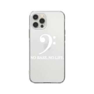 もりてつのNO BASS, NO LIFE. (白文字) Soft clear smartphone cases
