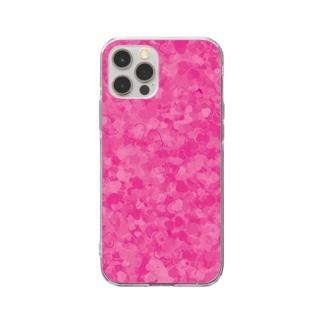 ピンクのハートいっぱい Soft clear smartphone cases