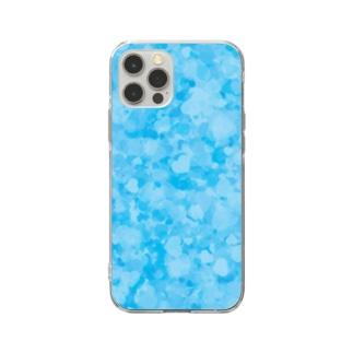 ブルーのハートいっぱい Soft clear smartphone cases