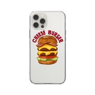 チーズバーガー Soft clear smartphone cases