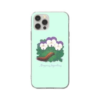 ビオラとツマグロヒョウモン Soft clear smartphone cases