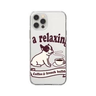 コーヒーとフレンチブルドッグ Soft Clear Smartphone Case