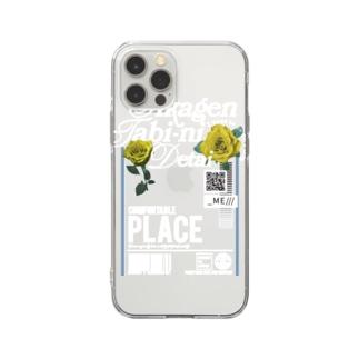 🌴いいかげん旅に出たい・黄色白文字🌴 Soft clear smartphone cases