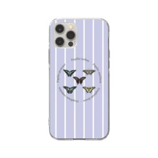5種のアゲハ蝶 Soft clear smartphone cases