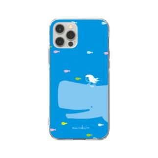 ラクガキモノ:海とくじらとおんなのこ Soft Clear Smartphone Case