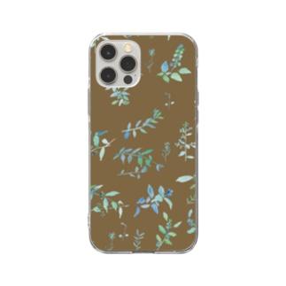 春を待つ brown Soft clear smartphone cases