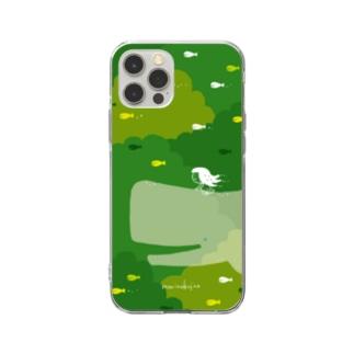 ラクガキモノ:森とくじらとおんなのこ Soft Clear Smartphone Case