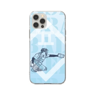 野球キャッチャー Soft clear smartphone cases