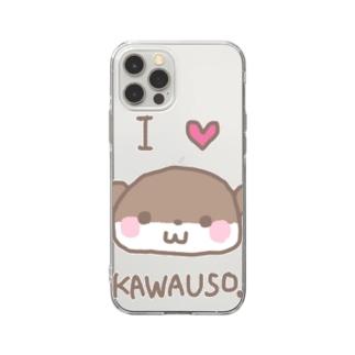 羊毛フェルトのMOFFU.(もっふ)のあいらぶカワウソ Soft clear smartphone cases