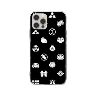 うさぎの家紋/黒 Soft clear smartphone cases