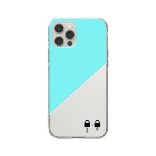 南京錠スマホケース(エメラルドグリーン) Soft clear smartphone cases