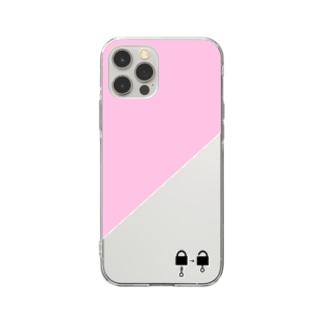南京錠スマホケース(ピンク) Soft clear smartphone cases