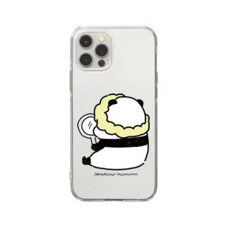 手鏡を見るパンダ Soft clear smartphone cases