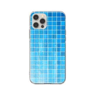 レトロなタイル 04 Soft clear smartphone cases
