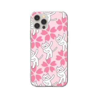 春うらら。浮かれニャンコ♫ Soft clear smartphone cases
