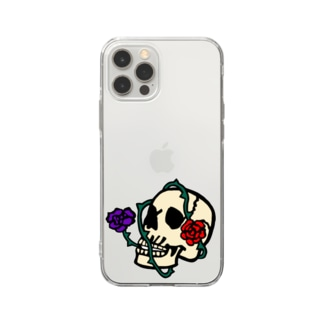 くま五郎本舗のおしゃれなしゃれこうべさん Soft clear smartphone cases