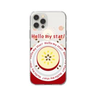 CT105 輪切りのリンゴ*bg Soft clear smartphone cases