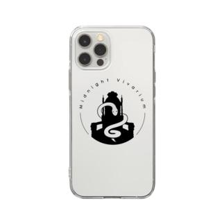 真夜ビバロゴ(黒) Soft clear smartphone cases