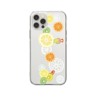ラブバとフルーツ(横長) Soft clear smartphone cases
