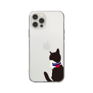 猫とセーラー服 Soft clear smartphone cases