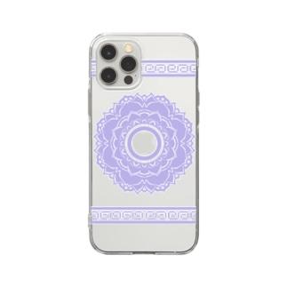 中華風ゼンタングル紫 Soft clear smartphone cases