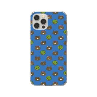 うさぎBOY&GIRL青 Soft clear smartphone cases