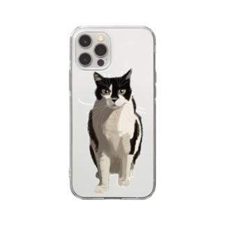 カッコいいネコ Soft clear smartphone cases