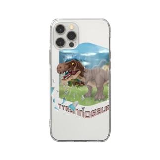 すとろべりーガムFactoryのティラノサウルス Soft clear smartphone cases