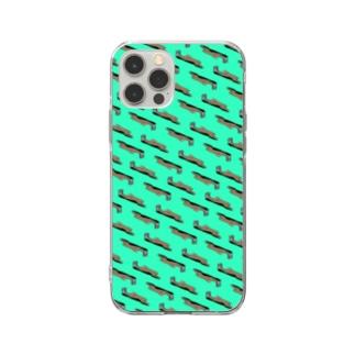 Poooompadoooourのなまけもの パターン/チョコミント Soft Clear Smartphone Case