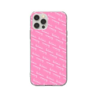 Poooompadoooourのなまけもの パターン/ピンク Soft Clear Smartphone Case