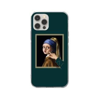 すとろべりーガムFactoryのイラッとする真珠の耳飾りの少女  スマホケース (濃いグリーン) Soft Clear Smartphone Case
