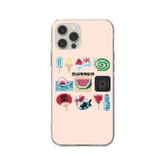 すとろべりーガムFactoryのドットSummer スマホケース (薄いピンク) Soft Clear Smartphone Case