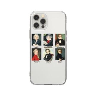 ドット 音楽室の肖像画 Soft clear smartphone cases