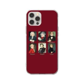ドット 音楽室の肖像画 スマホケース (エンジ) Soft clear smartphone cases